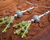 Peridot Drop Earrings with Tibetan Silver & Sterling Silver