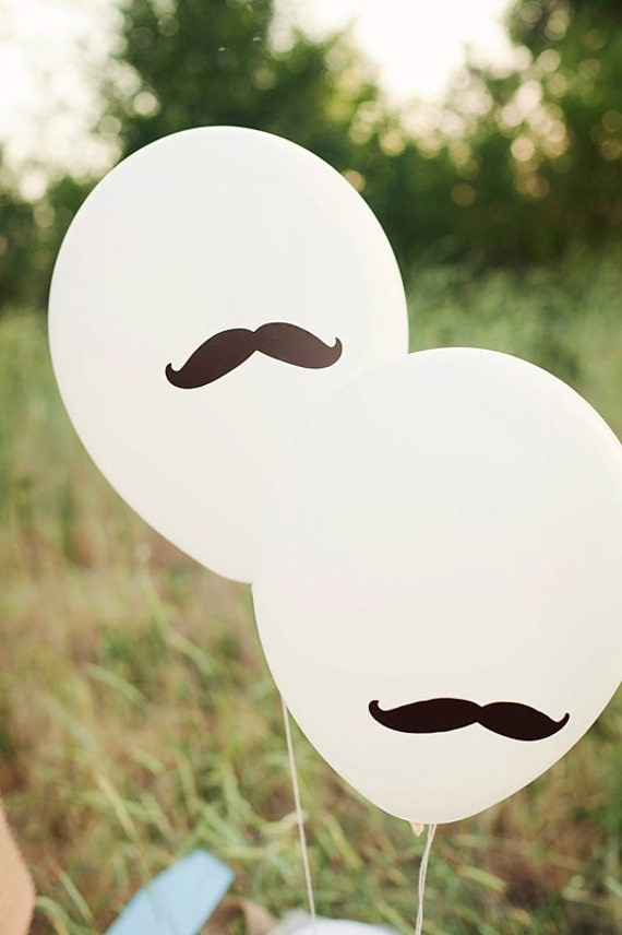 BROWN Mustache Party Balloons - Set of 12