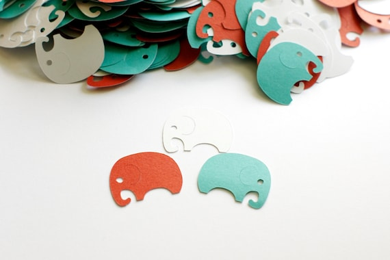 Elephant confetti red turquoise baby shower decoration for Baby confetti decoration