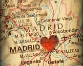 8x10 MAP of MADRID Spain with a Heart Shape with a Grunge Vintage Border - 8x10 Photograph - EliteImage