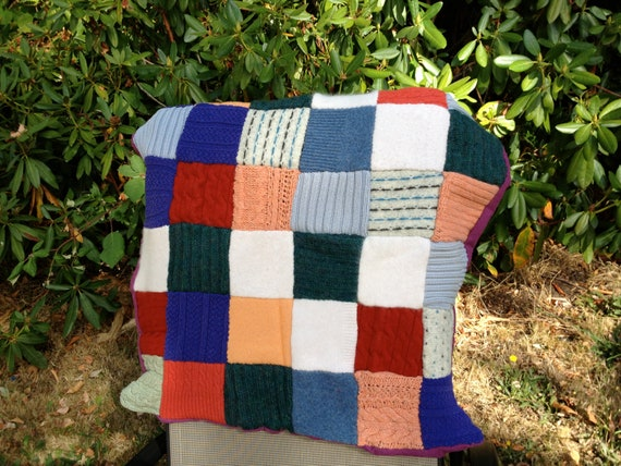 Baby blanket handmade from upcycled sweaters - great for tummy time