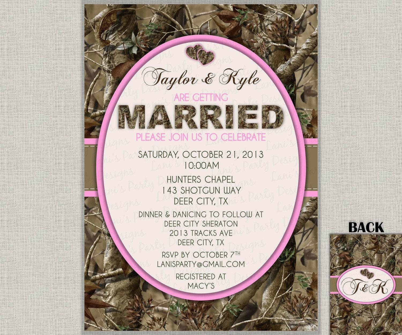 Camo Wedding Invitation Bridal Shower Bachelor Party Digital