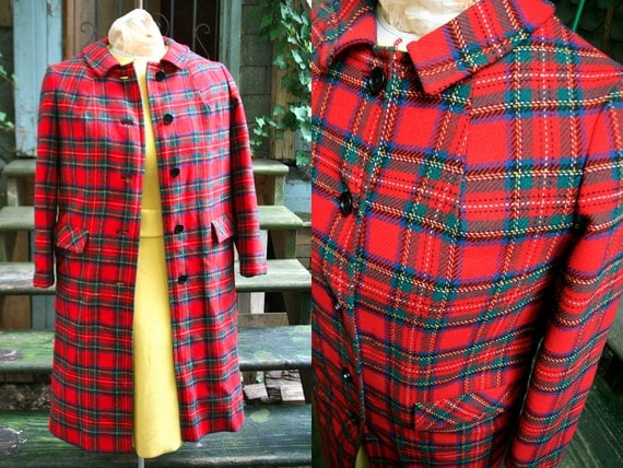 Pendleton Plus Size Red Tartan Plaid Long Wool Coat Jacket Size 12 Size 14 XL