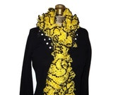 Yellow Ruffle Scarf with Black Baubles Handmade Knitted Steelers