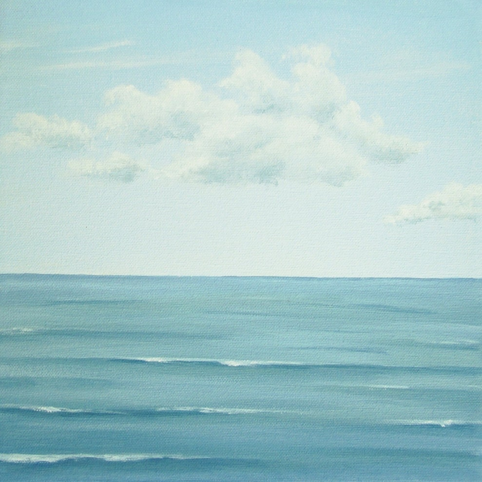 blue sky seascape, blue ocean, calm sea painting, calm ocean fine art, calm seas painting
