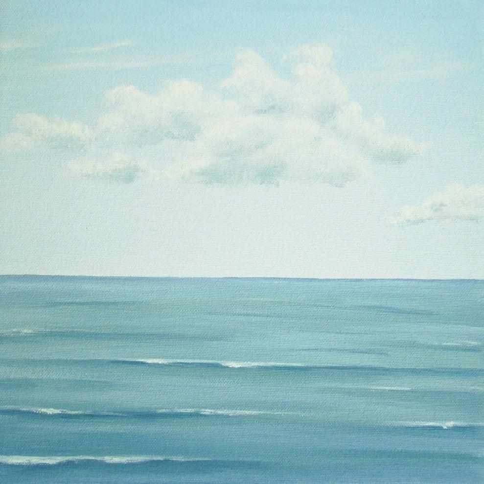 blue sky seascape, blue ocean, calm sea painting, calm ocean fine art, calm seas painting