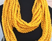 Free US Shipping: Gold Infinity Crocheted Rope Chain Necklace/Scarf