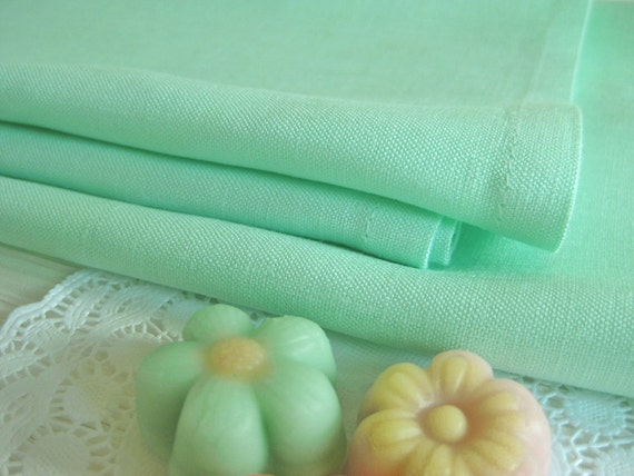 Set of 12 Mint Green Linen Napkins