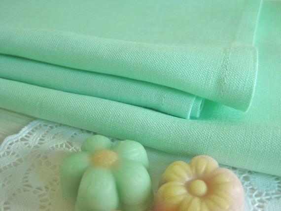 Set of 12 Mint Green Linen Napkins