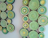 Modern wall decor Circles home decor Green wall hanging Pape wall decoration Abstract circles wall hanging - georgianacristea