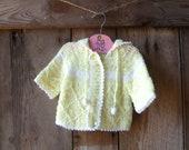baby sweater, cardigan // vintage 70s yellow & white baby cardigan // size 6-12 months - farmhousevoguekids