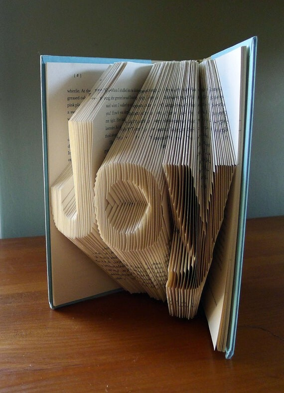 Christmas Decor - Holiday - Joy - Folded Book Art - Inspirational - Book Sculpture - Unique Gift -