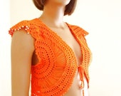 Free Shipping Sunshine Bolero crochet cotton orange  Ready to ship - KnitterPrincess