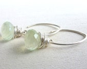 Prehnite Earrings Sterling Silver Wire Wrapped Briolette Jewelry Light Green - LittleAppleNY