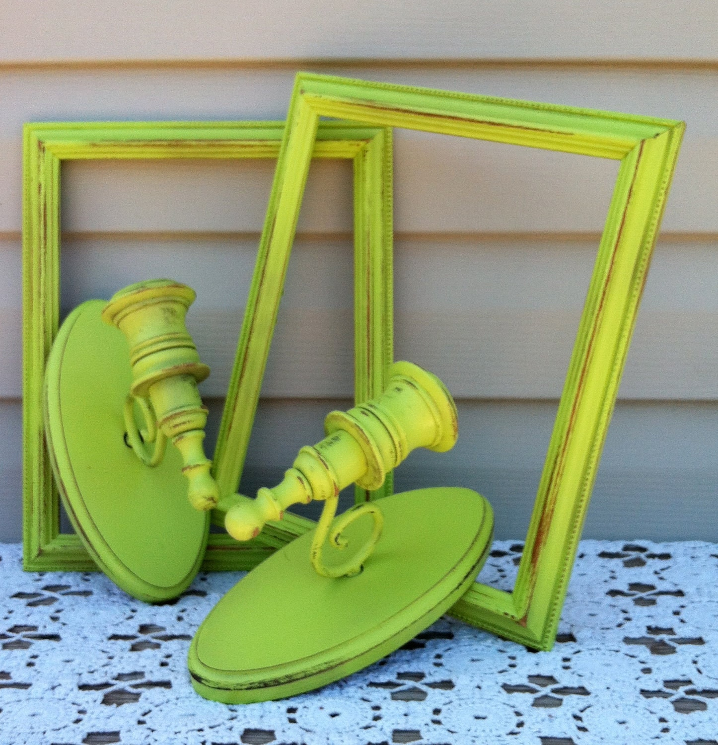 2 Lime Green Frame & Sconce Wall Decor / by RepurposedTreasure4U