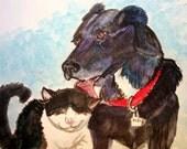 Bristol board/Heavy paper  Small 002 Original mixed media art of your pet