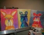 Bristol board/Heavy paper  Large 001 Original mixed media art of your pet