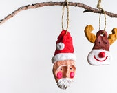 Handmade Christmas ornaments-decor-Christmas tree decoration-hanging-holiday ornament-Santa Claus-Deer-Reindeer. Set of 2 items. Winter Fun - AstaArtwork