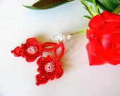 Crochet Romantic Earrings Red Fashion Dangle Orginal Design - AmayArt