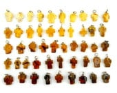Hand Carved Amber Baltic CROSS - Yellow - Honey - Cognac - Cherry - LITTLE