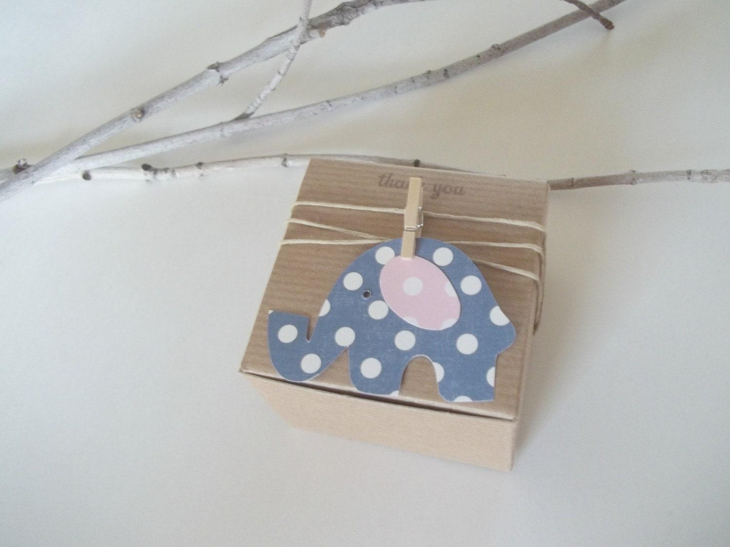 25 baby shower favor boxes navy pink polka dot elephant 3x3x2 inch