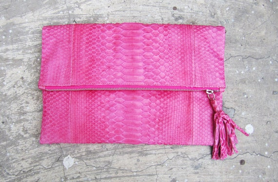 BASIC - Pink Zippered Fold Over Python Snakeskin Leather Clutch