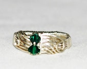 Royal Emerald Ring with  Sterling Silver and Wire Wrapped Design.   FREE SHIPPING - royalcrownjewels