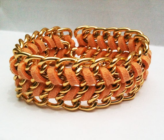 Arm candy Chehevron Friendship bracelet. Chevron bracelet. Peach orange suede wrap around gold chain