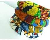 Wax Printed African Fabric Wrapped Bangles
