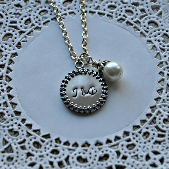 Hand Stamped Initial Necklace - Sterling Silver Frame - Pearl