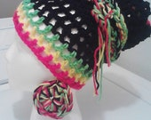 Rasta Tam Wrap w/ thick braided tie wrap and braided round earrings
