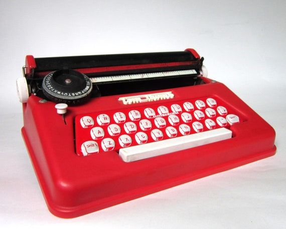 Vintage 1960s Tom Thumb Junior Typewriter - Bright Red with Original Box