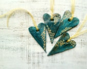 Set of 4 rustic hearts Christmas ornament Christmas decoration teal green gold home decor gift for couple - HandyHappyHearts
