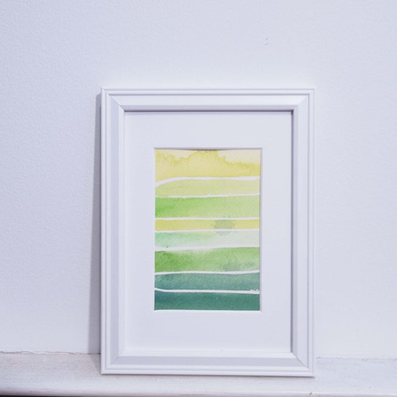 Small Abstract Painting - Green, blue, yellow abstract with watercolor, original painting 3x5