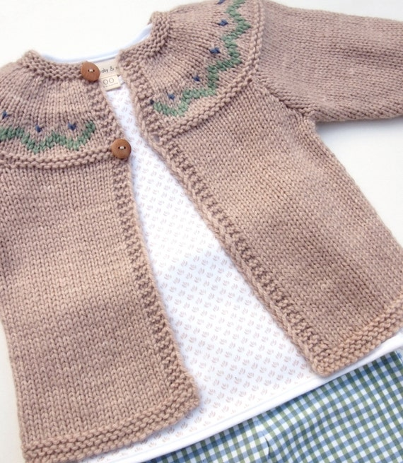 Adorable Hand Knitted Unisex Baby Cardigan in Australian Wool & Silk - Natural