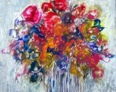 "ORIGINAL FLORAL Encaustic semi abstract  ""Bouquet for Mother"" STUDIOSABINE"