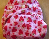 One Size Pocket Diaper - Strawberries on Pink