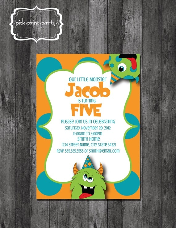 Little Monster Birthday Invitation - DIY - Printable