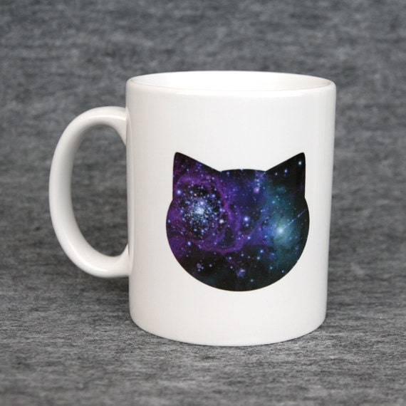 Classic mug with galaxy cat print - blue & pink