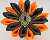 Halloween black and orange key hole center grosgrain ribbon kanzashi hair clip