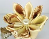 Ivory and brown ribbon kanzashi hair flower clip