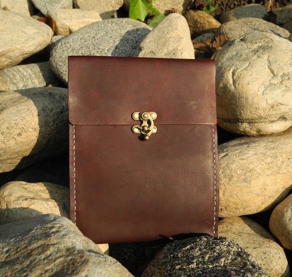 Premium Leather iPad Mini Case, iPad Mini Cover, iPad Mini Pocket, iPad Mini Bag with Lock - Bordeaux