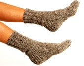 "WOMAN WOOL SOCKS ""Touring back roads"".  Hand knitted from natural grey sheep wool yarn. Great for hiking - CozyLT"