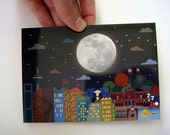 Postcard madrid night full moon card madrid - MiPetitMadrid