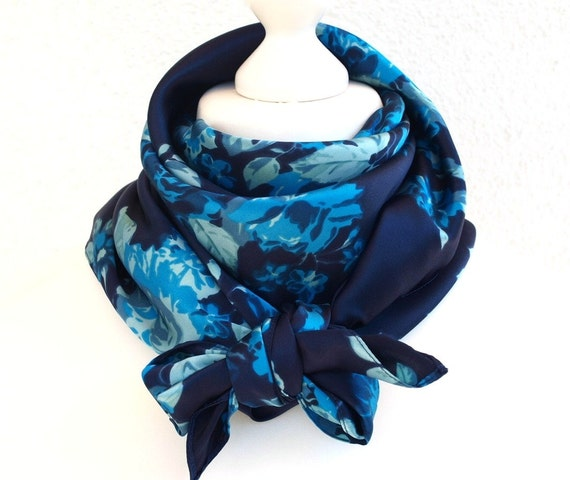 Blue Silk Square Scarf Floral Womens Head Neck