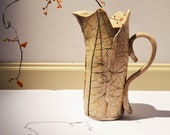 Ceramic jug vase leaves nature white cream, rustic - EMuuGallery
