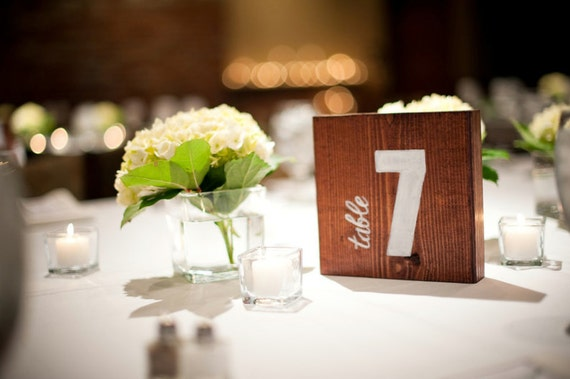 15 WOODEN TABLE NUMBERS - Rustic, hand-painted, wedding, modern, square, handmade, wood