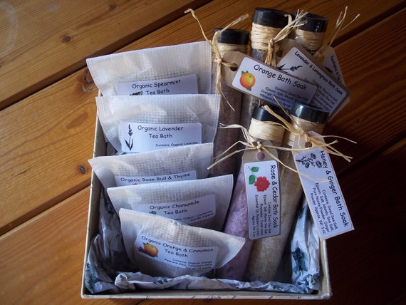 5 Natural Bath Salts and 5 Bath Teas Set