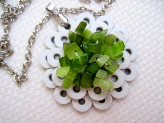 Leather Pendant Leather Jewelry Flower White Green Lime OOAK