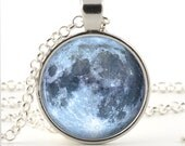Full Moon Pendant - Full Moon Necklace - Full Moon Jewelry - Glass Photo Pendant - Gift Bag Included - BazingaJewellery